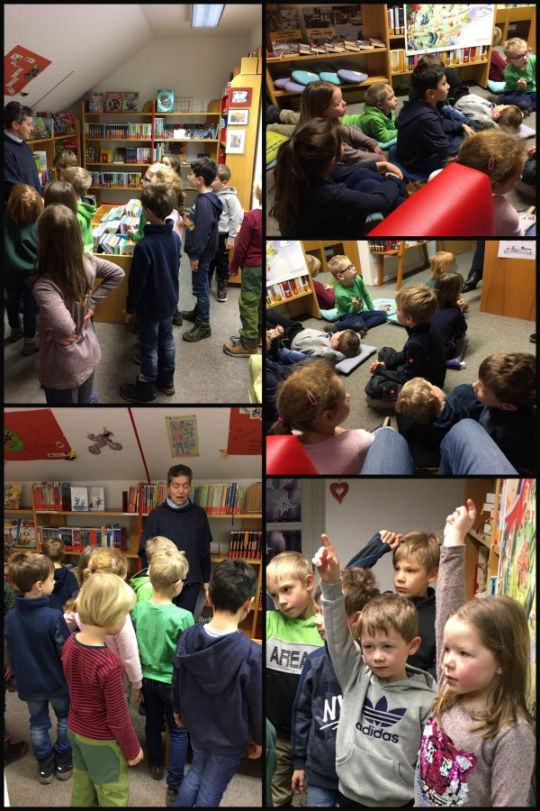 Bilder des Besuchs der 1. Klasse in der Bücherei in Dromersheim